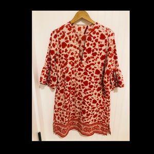 Carolina Hererra bell sleeve silk batik Dress M